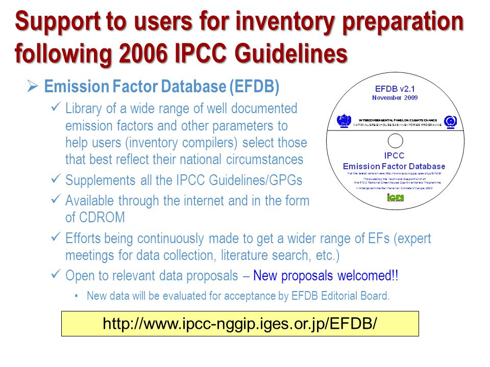Support to users for inventory preparation following 2006 IPCC Guidelines