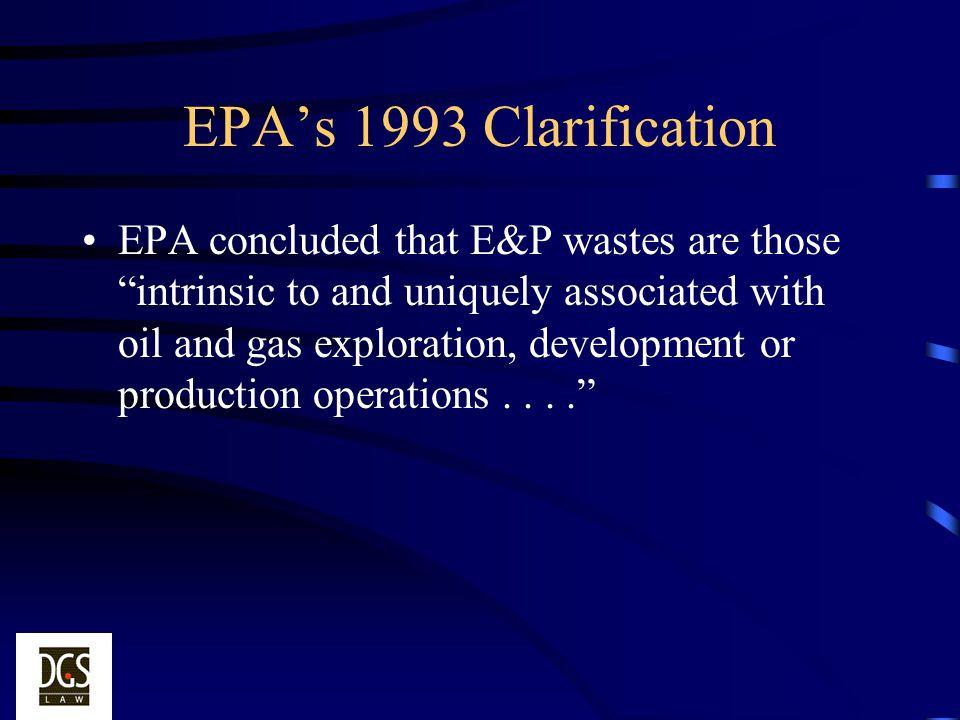 EPA's 1993 Clarification