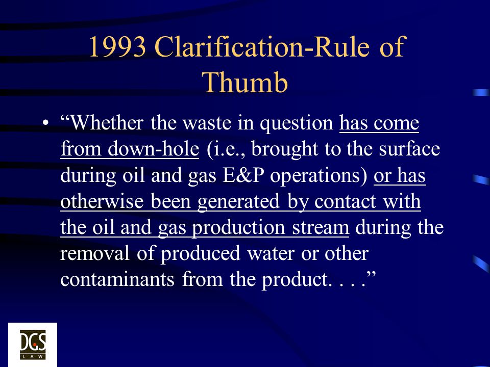1993 Clarification-Rule of Thumb