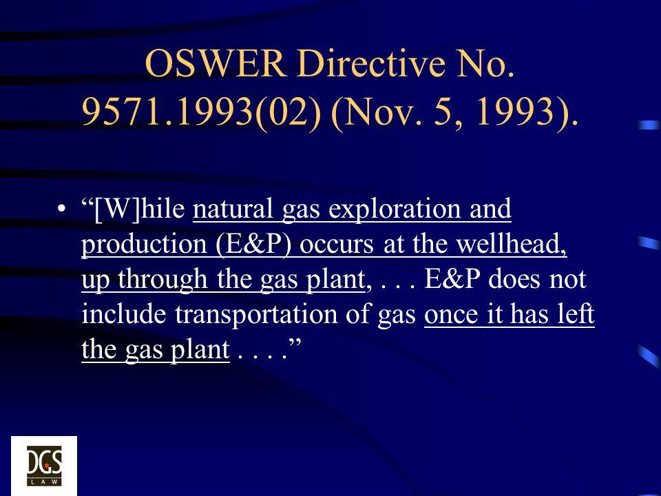 OSWER Directive No. 9571.1993(02) (Nov. 5, 1993).