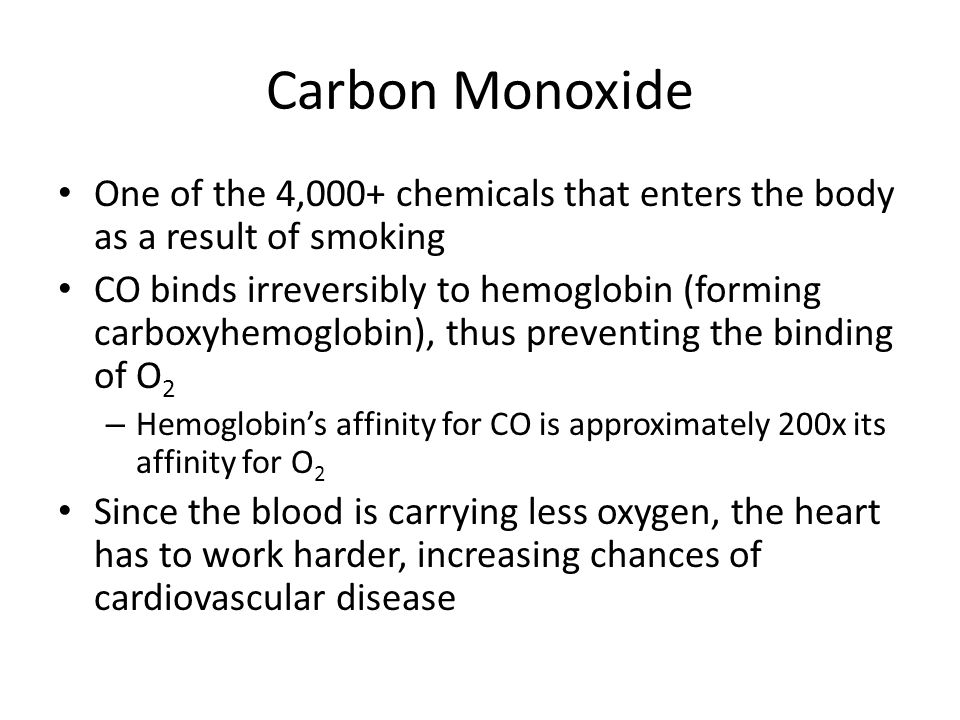 Carbon Monoxide One of the 4,000+ chemicals that enters the body as a result of smoking.