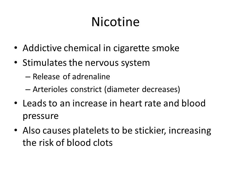 Nicotine Addictive chemical in cigarette smoke