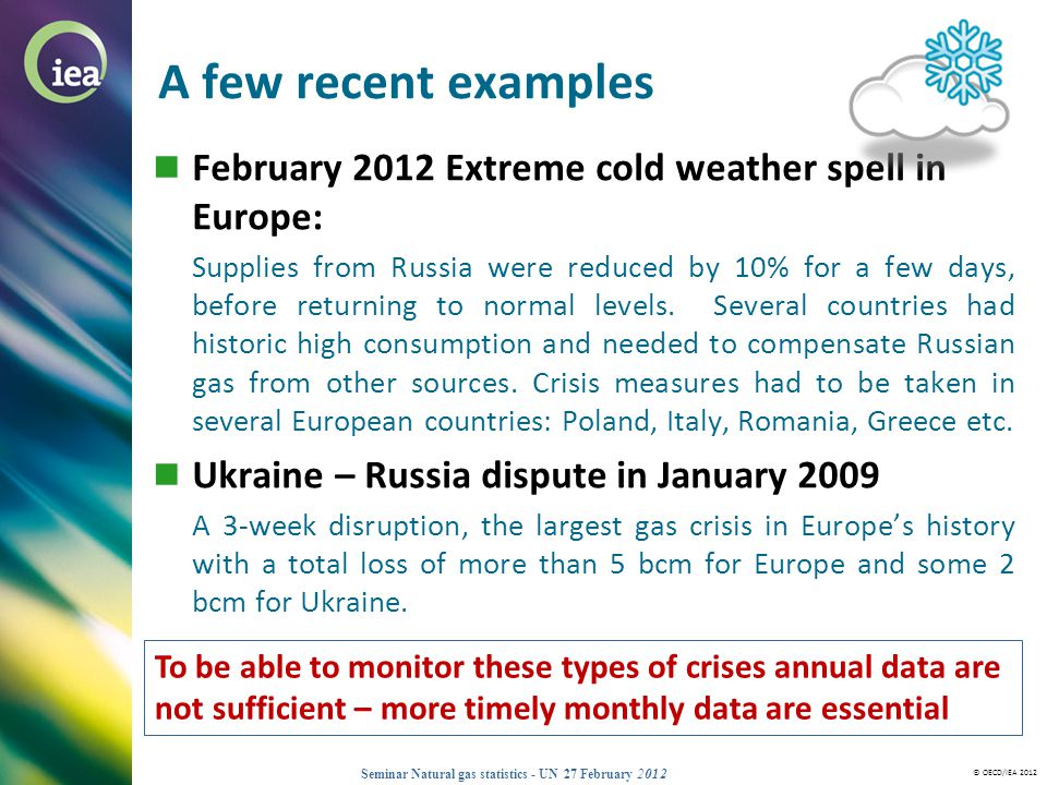 A few recent examples February 2012 Extreme cold weather spell in Europe: