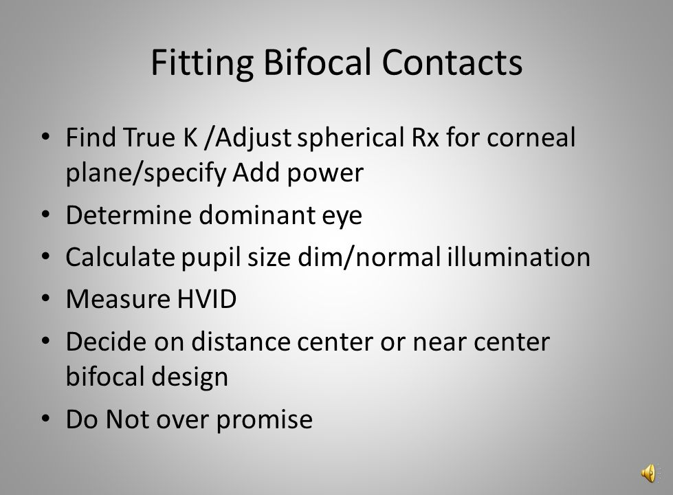 Fitting Bifocal Contacts