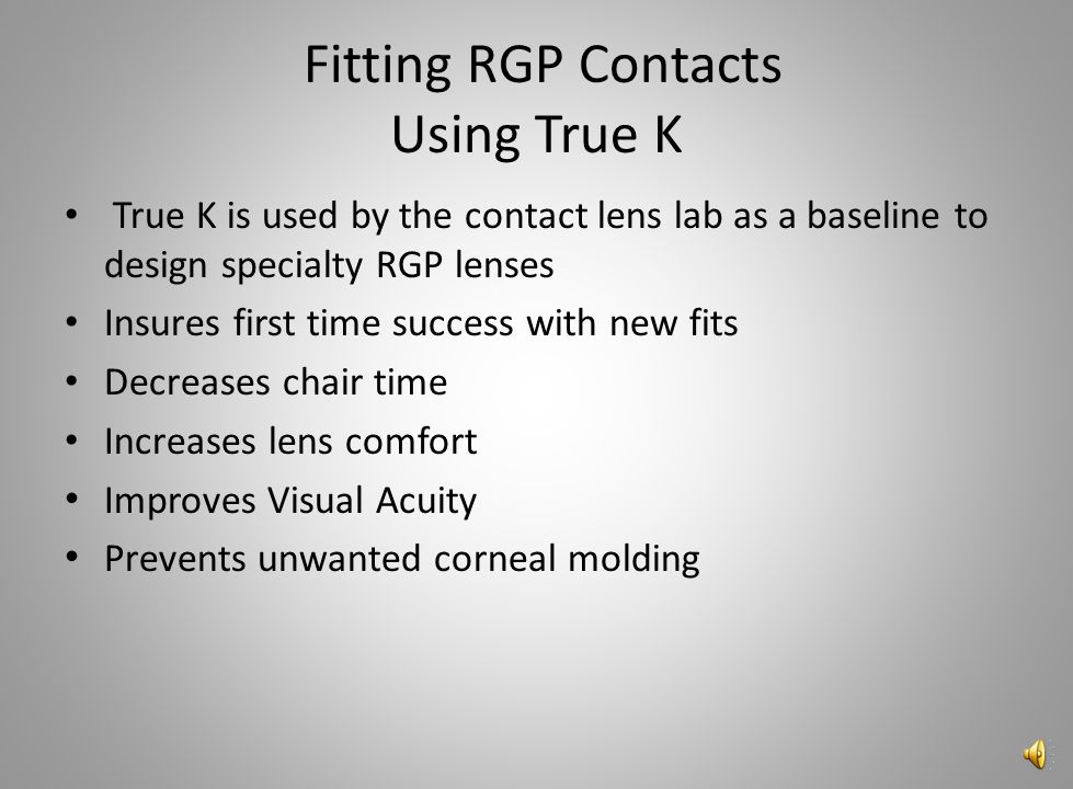 Fitting RGP Contacts Using True K