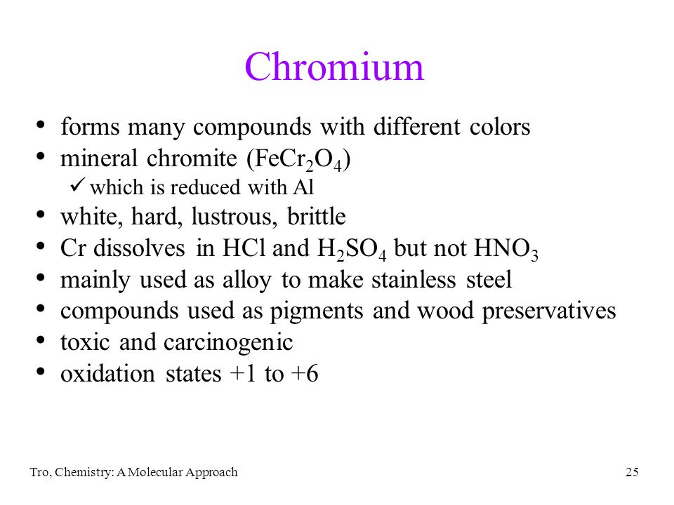Chromium forms many compounds with different colors