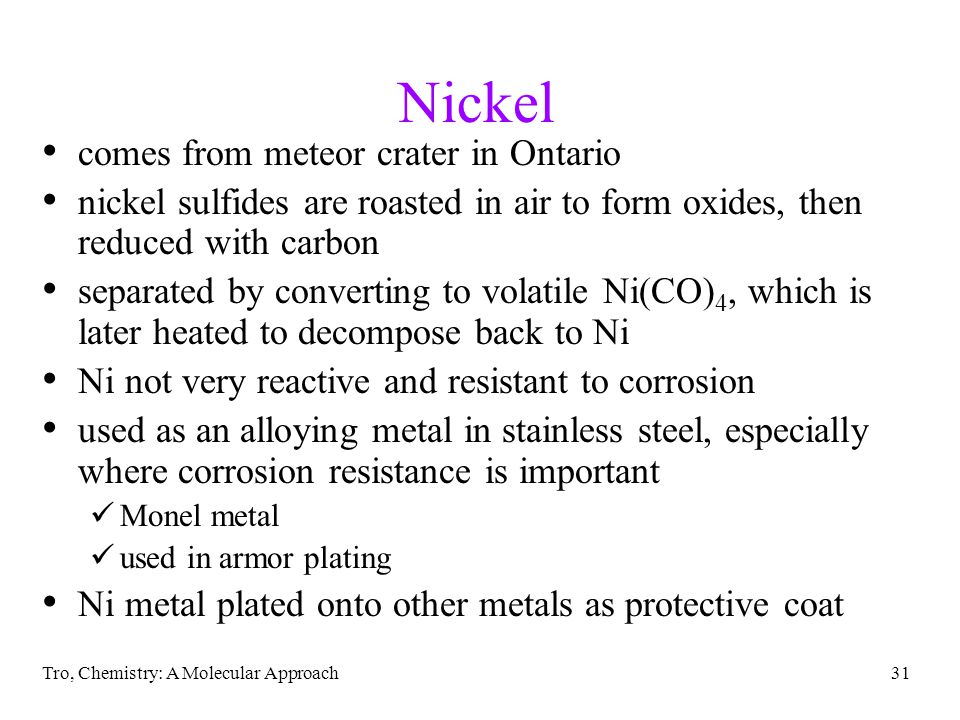 Nickel comes from meteor crater in Ontario