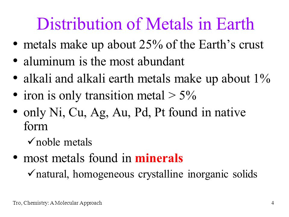 Distribution of Metals in Earth