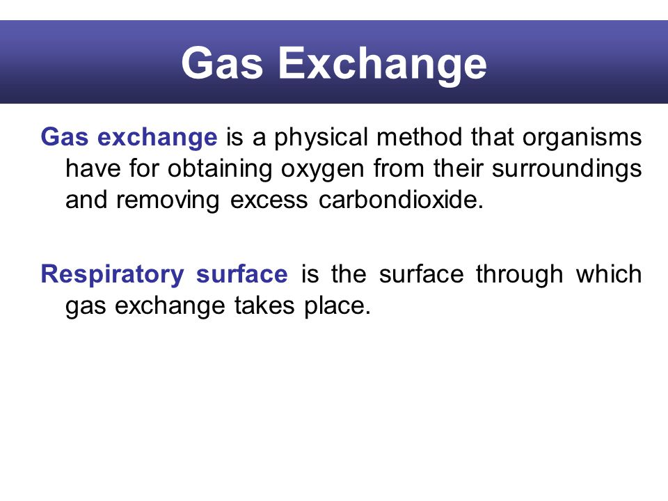 Gas Exchange Gas exchange is a physical method that organisms have for obtaining oxygen from their surroundings and removing excess carbondioxide.