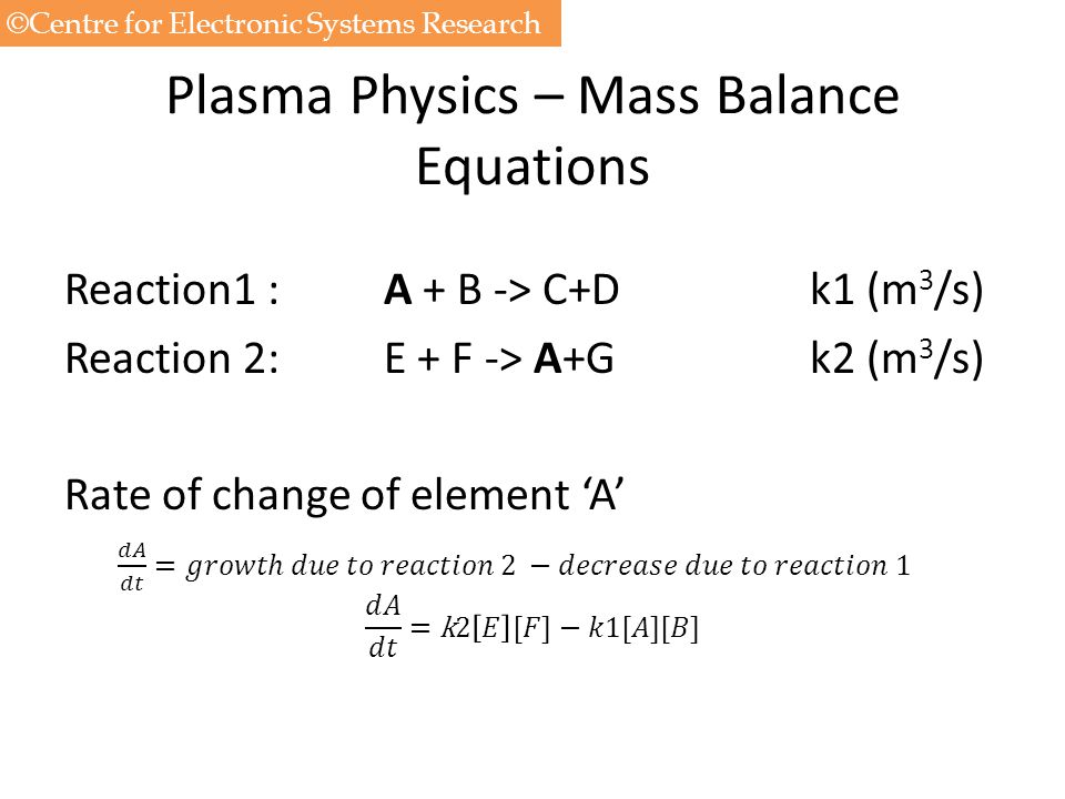 Plasma Physics – Mass Balance Equations