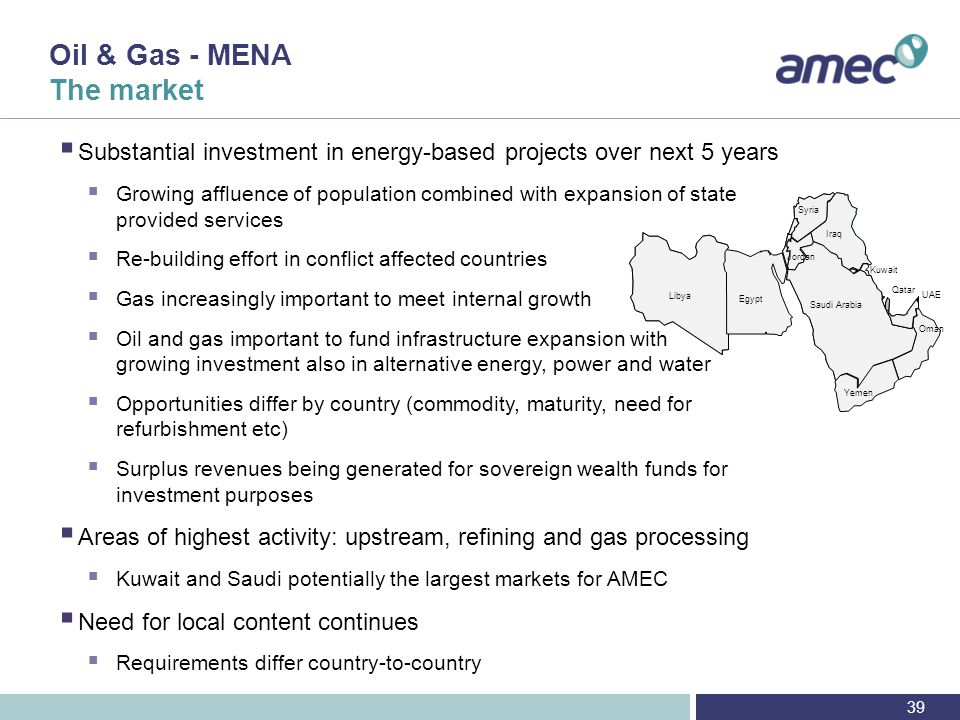 Oil & Gas - MENA The market - regional drivers and trends