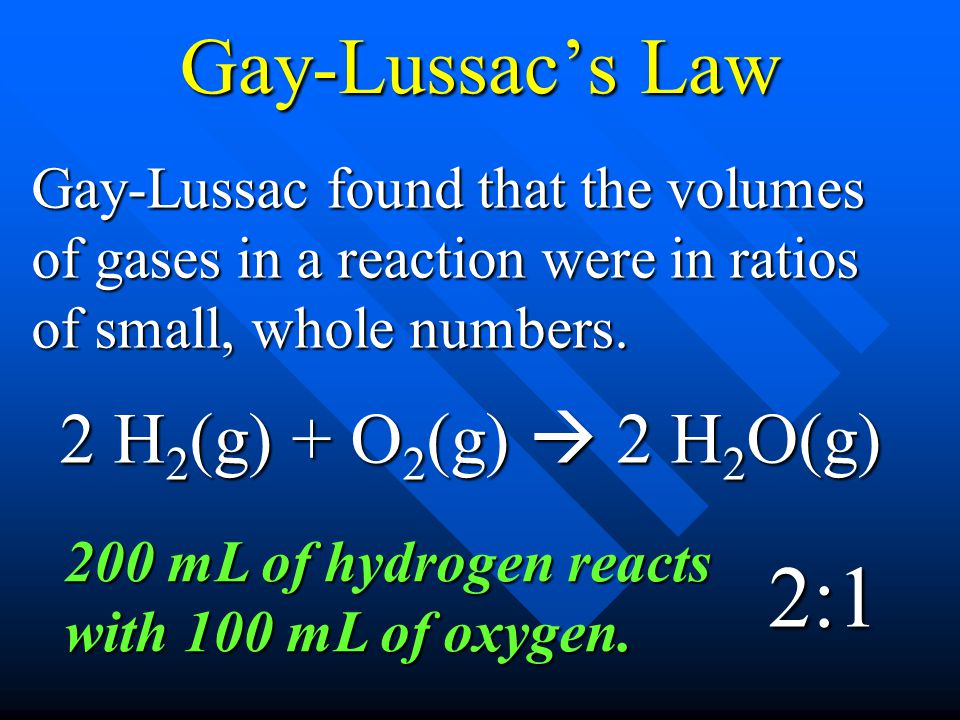 2:1 Gay-Lussac's Law 2 H2(g) + O2(g)  2 H2O(g)