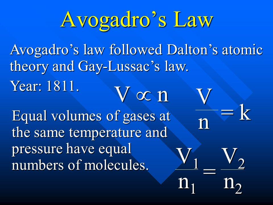 Avogadro's Law V µ n V n = k V1 n1 = V2 n2