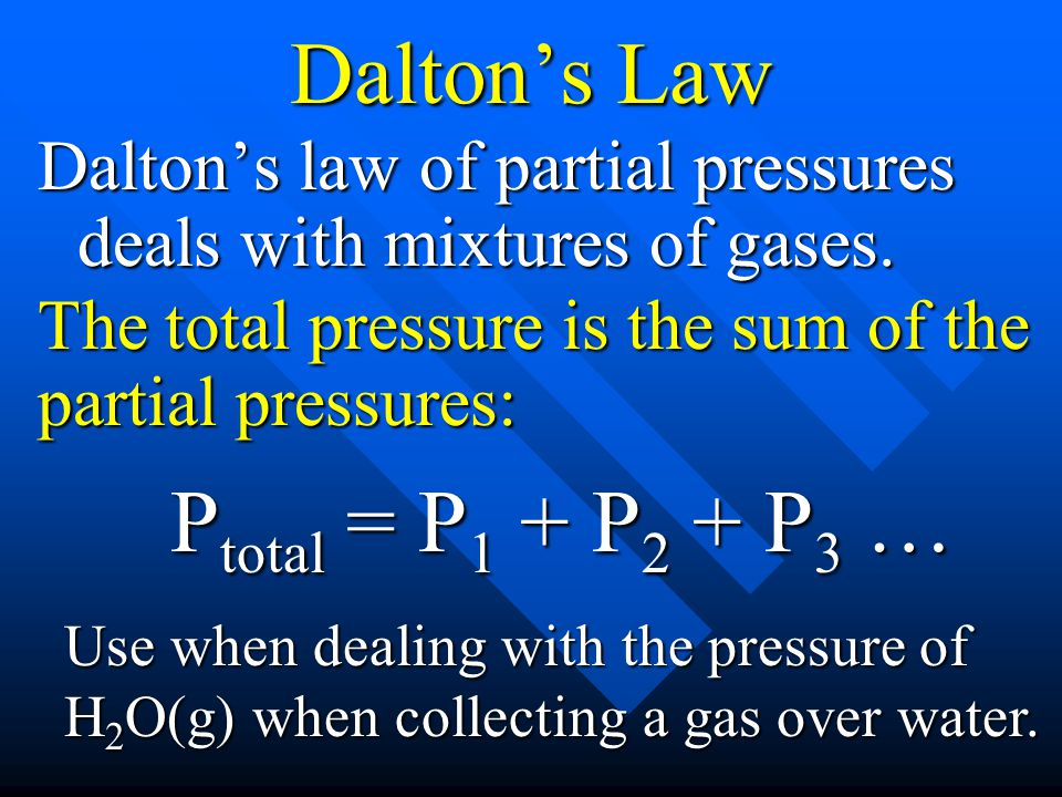Dalton's Law Ptotal = P1 + P2 + P3 …