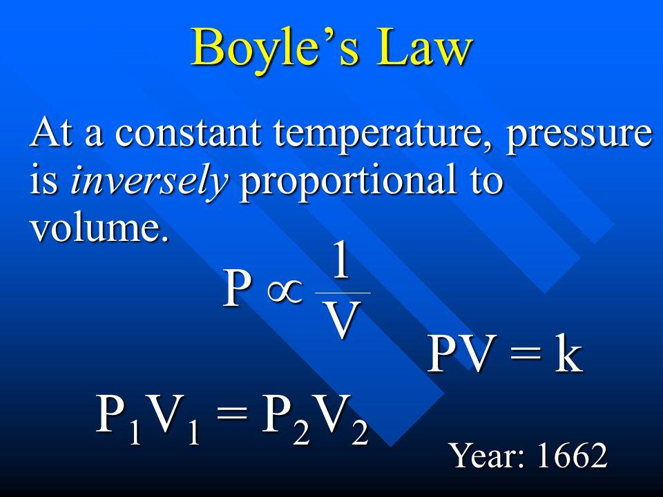 Boyle's Law 1 P µ V PV = k P1V1 = P2V2