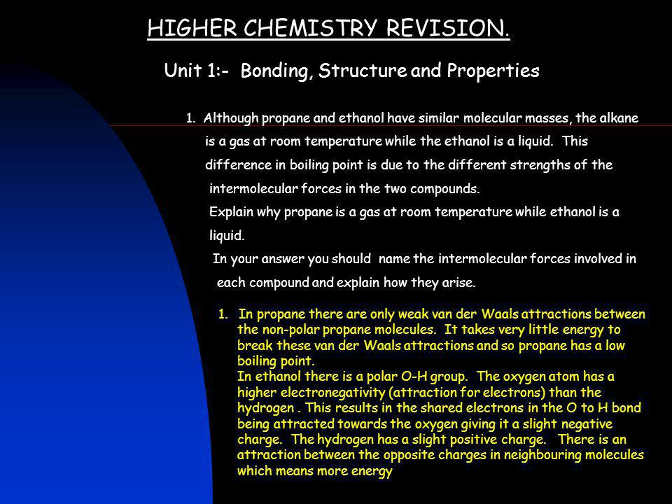 HIGHER CHEMISTRY REVISION.