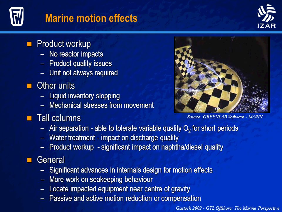 Marine motion effects Product workup Other units Tall columns General