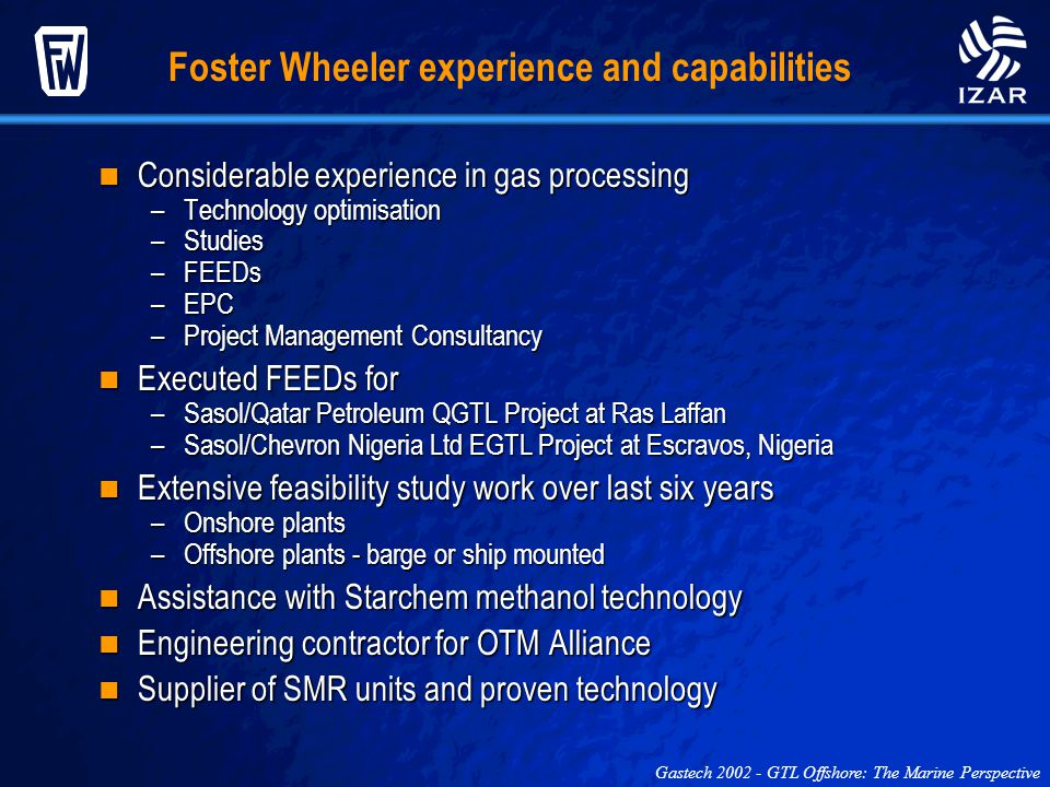 Foster Wheeler experience and capabilities