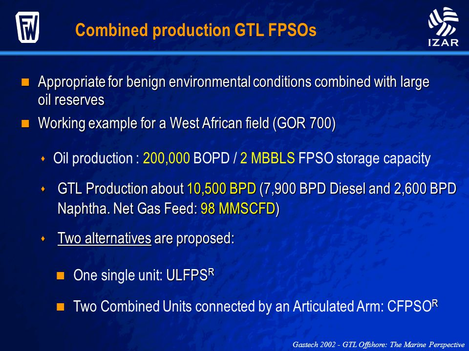 Combined production GTL FPSOs