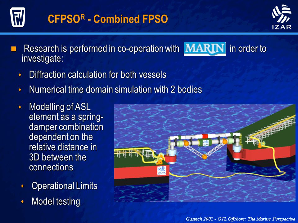 CFPSOR - Combined FPSO Research is performed in co-operation with in order to investigate: