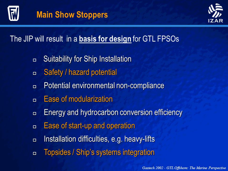 Main Show Stoppers The JIP will result in a basis for design for GTL FPSOs. Suitability for Ship Installation.