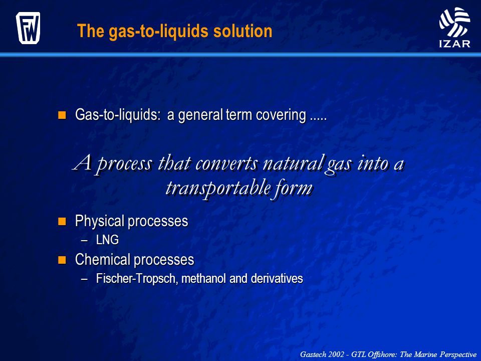 A process that converts natural gas into a transportable form