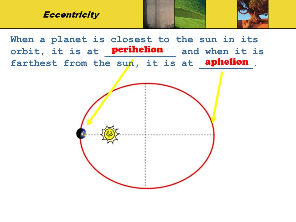 Eccentricity When a planet is closest to the sun in its orbit, it is at ____________ and when it is farthest from the sun, it is at _________.