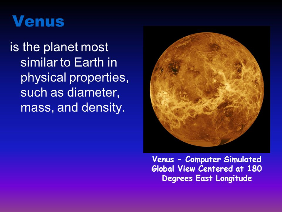 Venus Venus - Computer Simulated Global View Centered at 180 Degrees East Longitude.