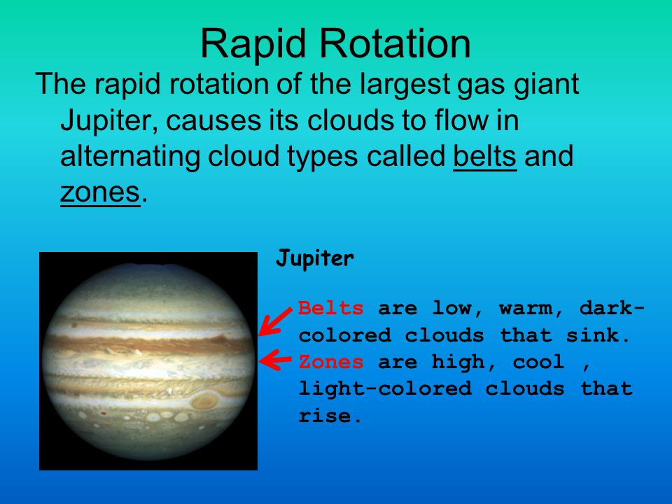 Rapid Rotation The rapid rotation of the largest gas giant Jupiter, causes its clouds to flow in alternating cloud types called belts and zones.