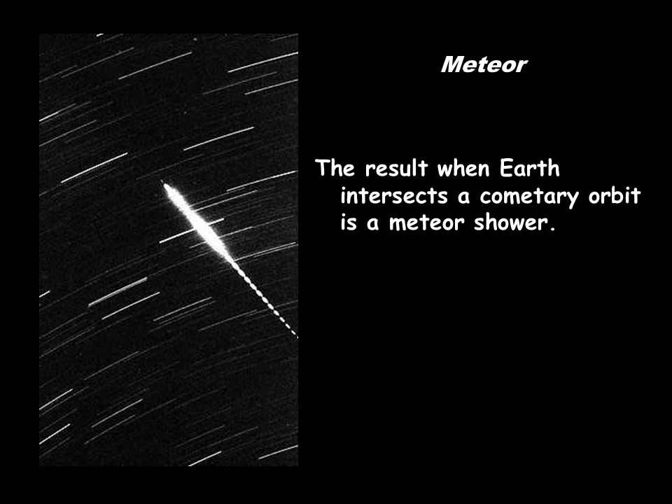 Meteor The result when Earth intersects a cometary orbit is a meteor shower.