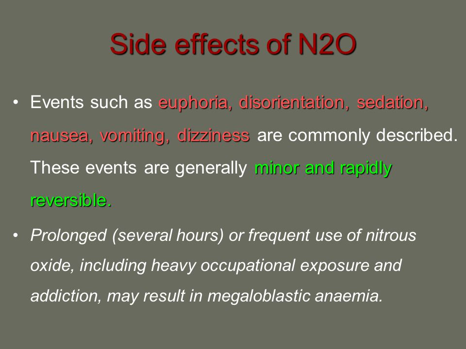 Side effects of N2O