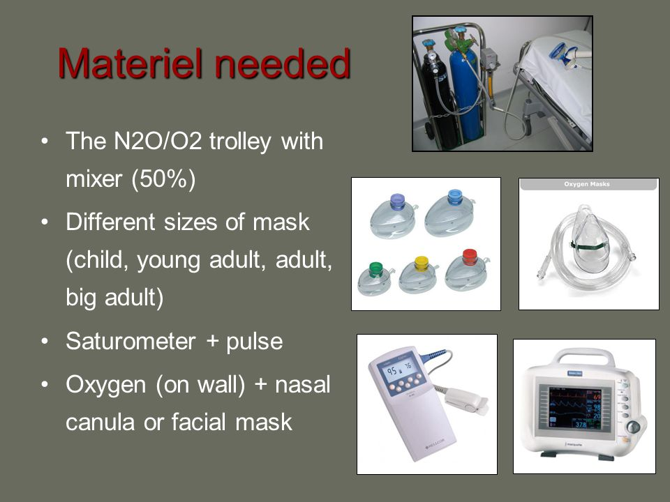 Materiel needed The N2O/O2 trolley with mixer (50%)