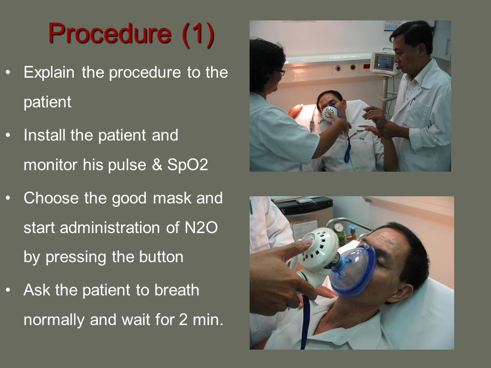 Procedure (1) Explain the procedure to the patient