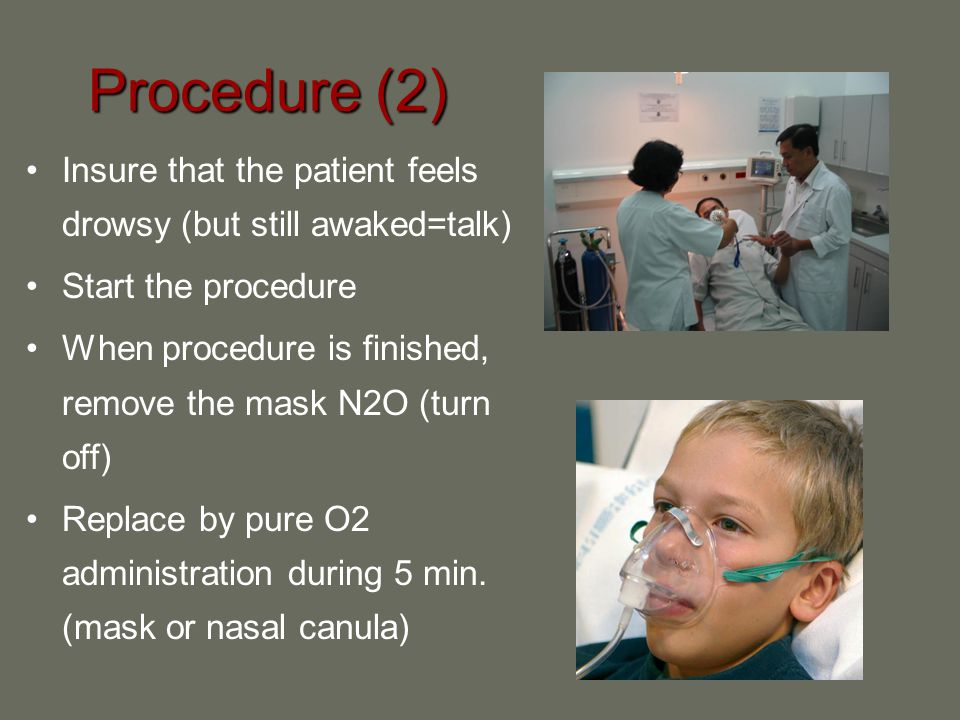 Procedure (2) Insure that the patient feels drowsy (but still awaked=talk) Start the procedure.