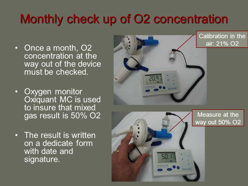 Monthly check up of O2 concentration