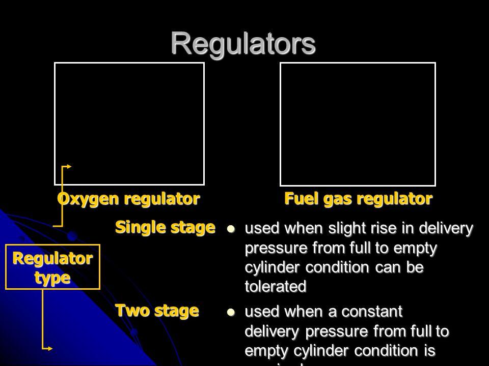 Regulators Oxygen regulator Fuel gas regulator Single stage