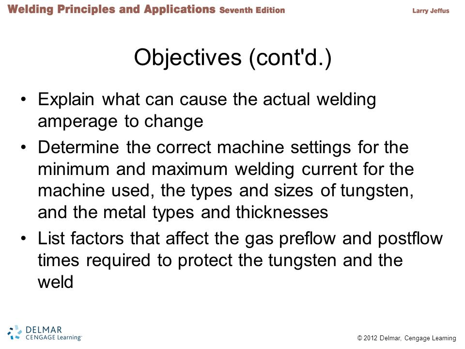 Objectives (cont d.) Explain what can cause the actual welding amperage to change.