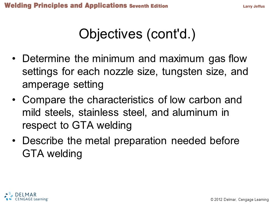Objectives (cont d.) Determine the minimum and maximum gas flow settings for each nozzle size, tungsten size, and amperage setting.