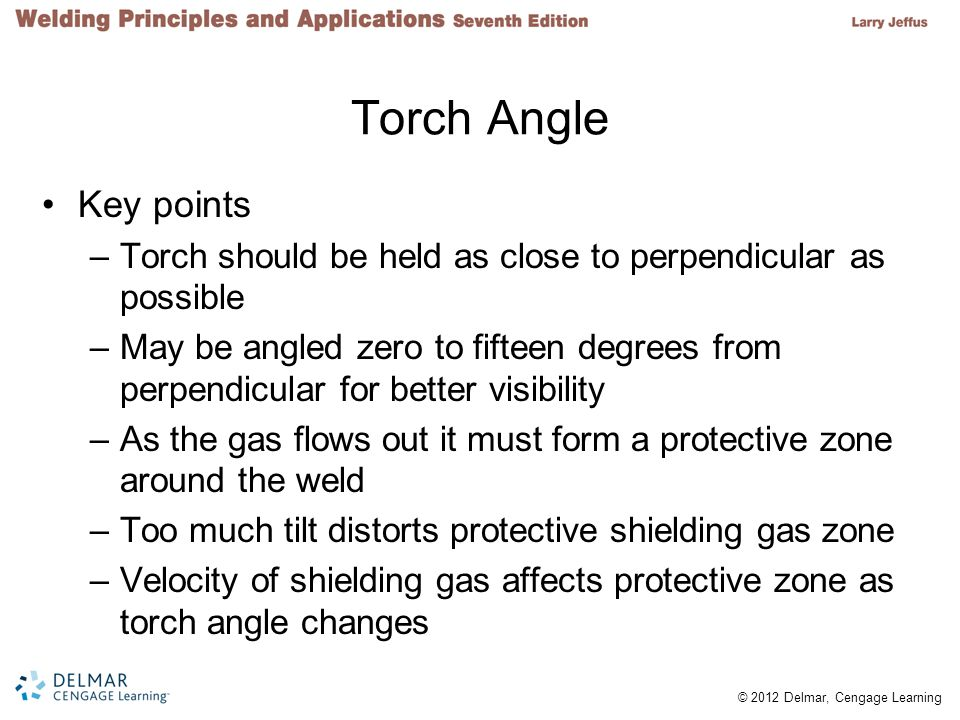 Torch Angle Key points. Torch should be held as close to perpendicular as possible.