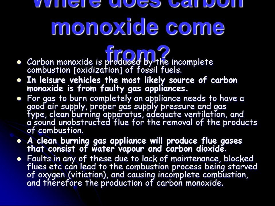 Where does carbon monoxide come from