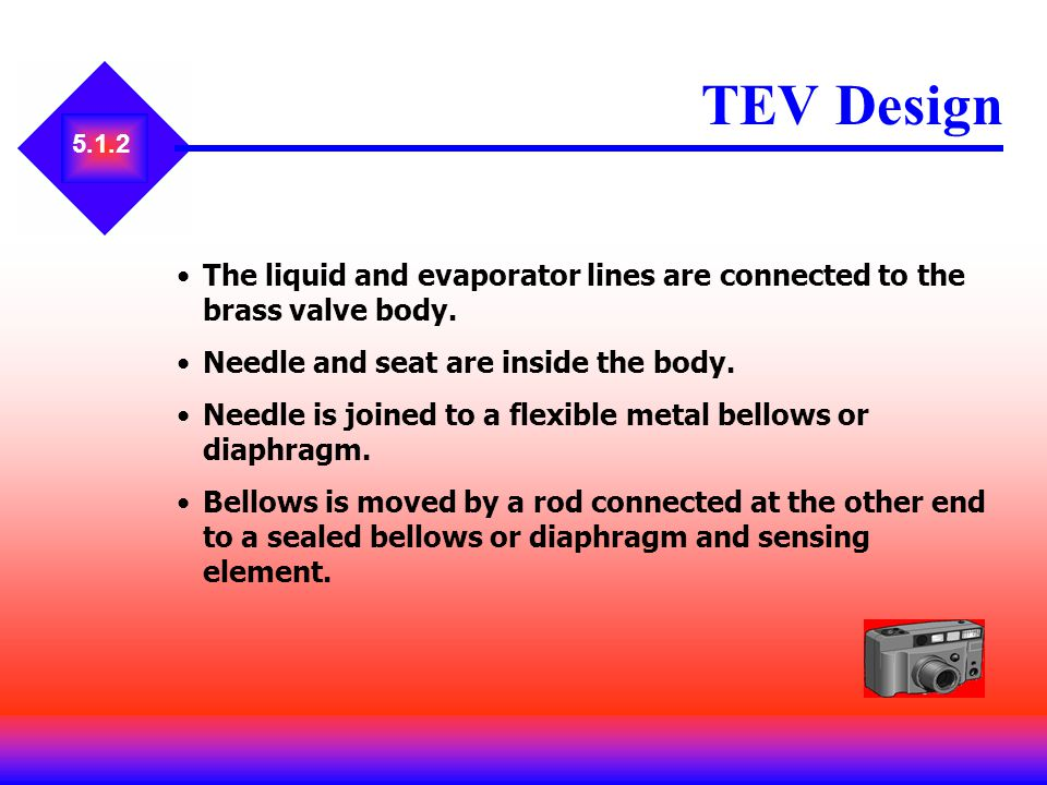 TEV Design 5.1.2. The liquid and evaporator lines are connected to the brass valve body. Needle and seat are inside the body.