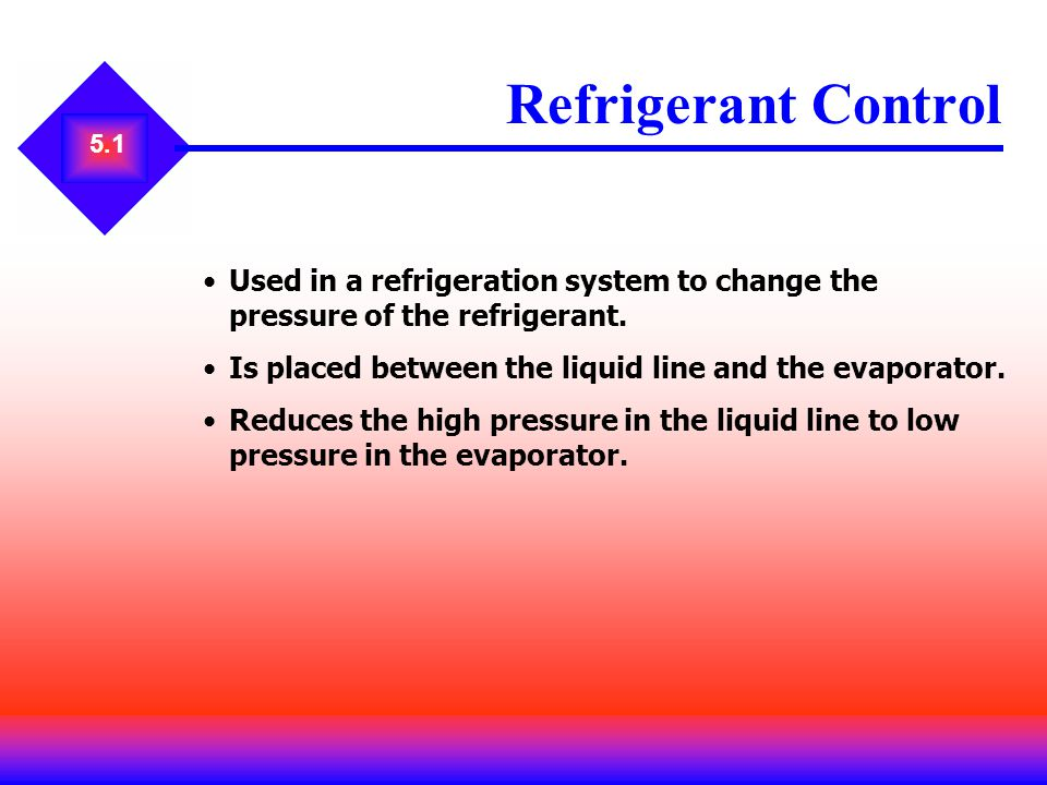 Refrigerant Control 5.1. Used in a refrigeration system to change the pressure of the refrigerant.