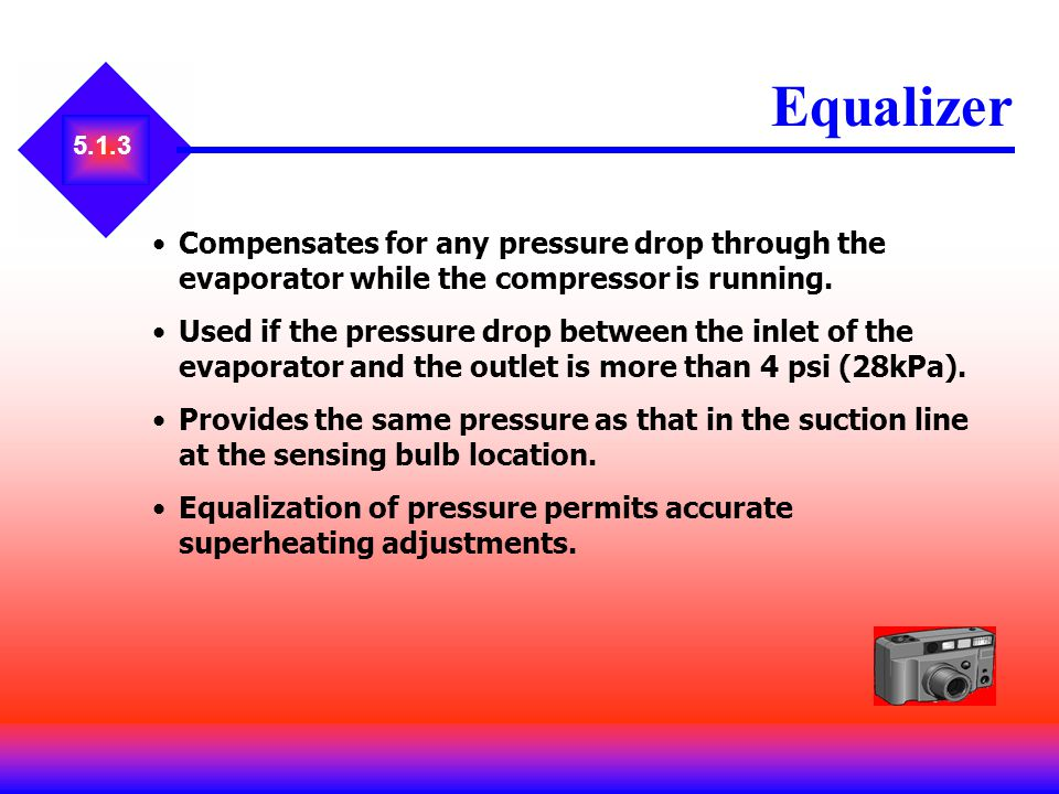 Equalizer 5.1.3. Compensates for any pressure drop through the evaporator while the compressor is running.