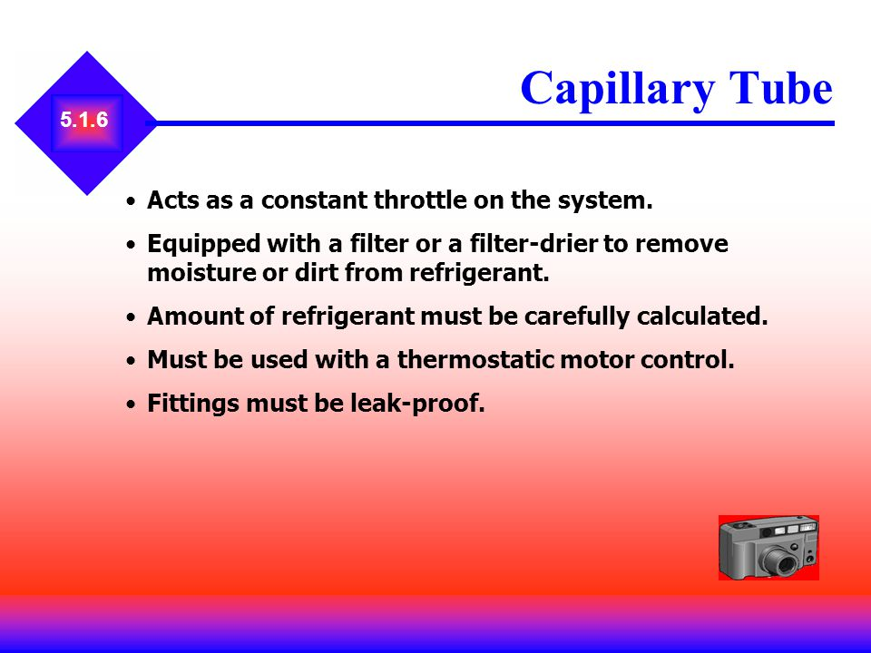 Capillary Tube Acts as a constant throttle on the system.