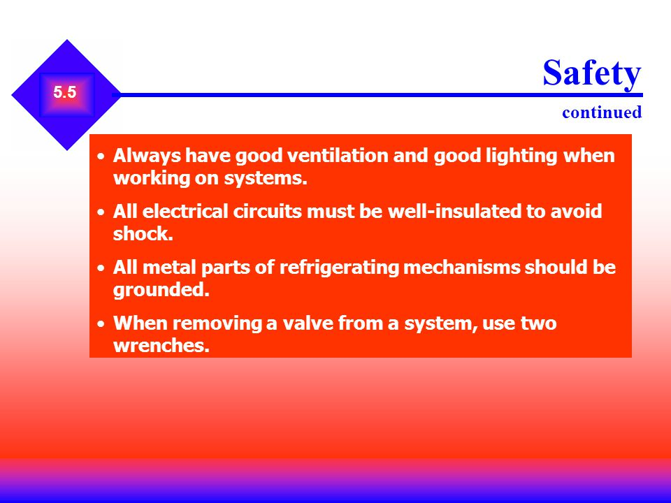 Safety continued 5.5. Always have good ventilation and good lighting when working on systems.