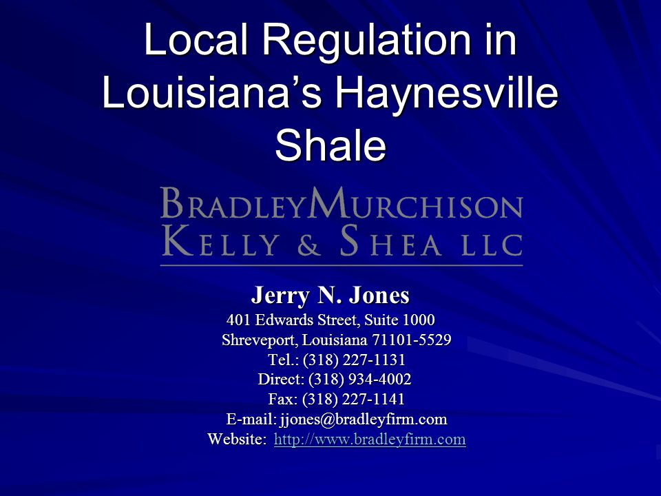 Local Regulation in Louisiana's Haynesville Shale