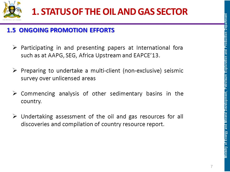 1. STATUS OF THE OIL AND GAS SECTOR