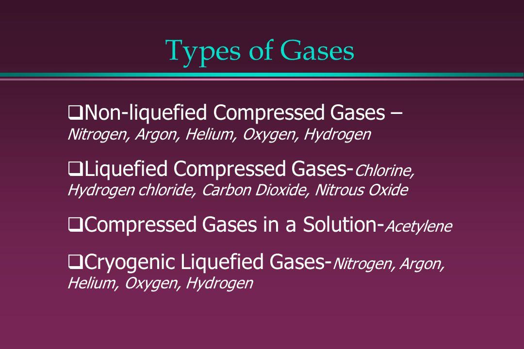Types of Gases Non-liquefied Compressed Gases – Nitrogen, Argon, Helium, Oxygen, Hydrogen.