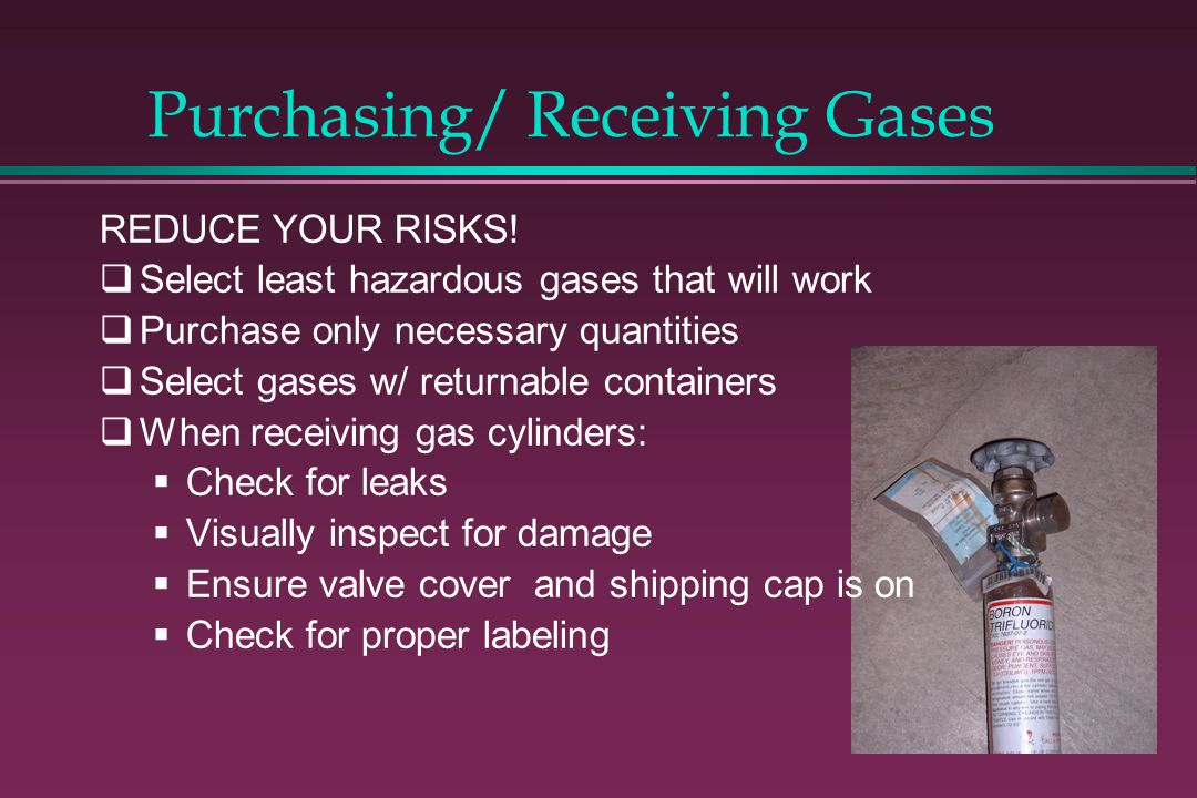 Purchasing/ Receiving Gases