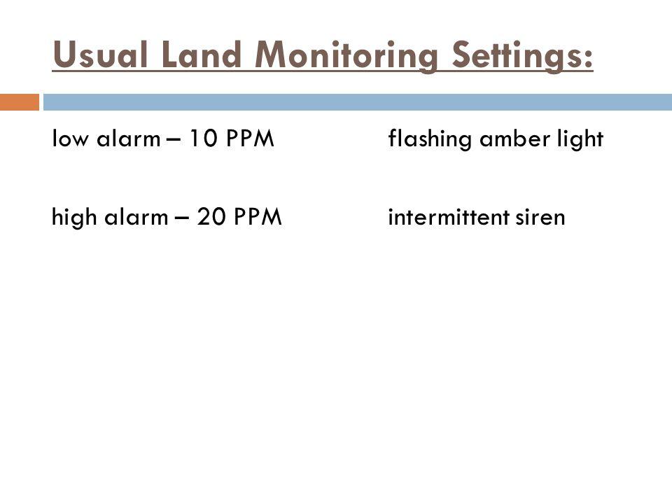 Usual Land Monitoring Settings: